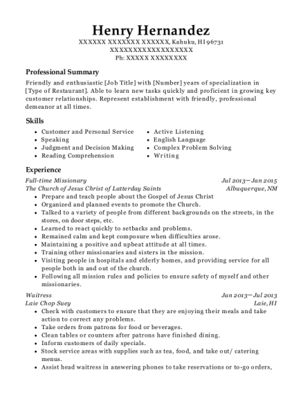 Full time Missionary resume format Hawaii