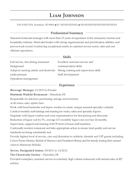 Beverage Manager resume template Hawaii