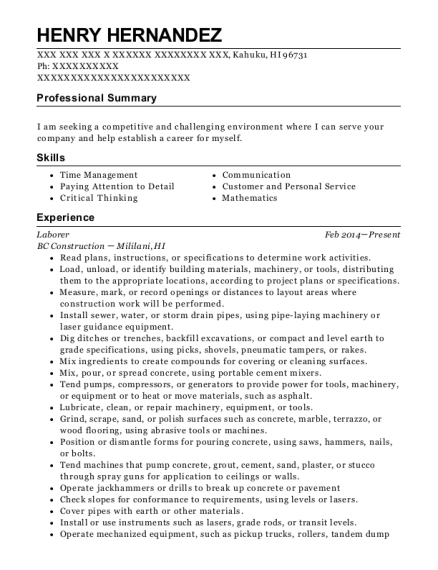 Laborer resume template Hawaii