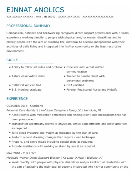 Personal Care Assistant resume sample Hawaii