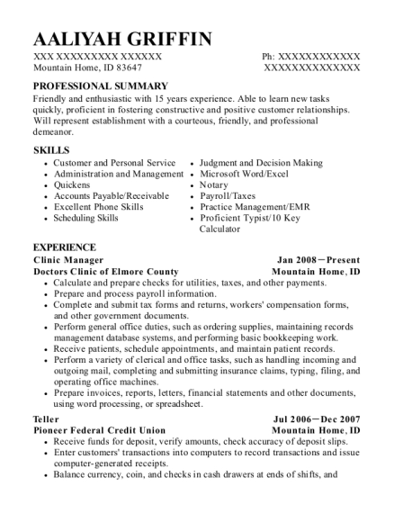 Clinic Manager resume template Idaho
