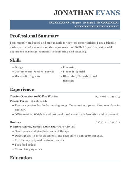 Tractor Operator and Office Worker resume format Idaho