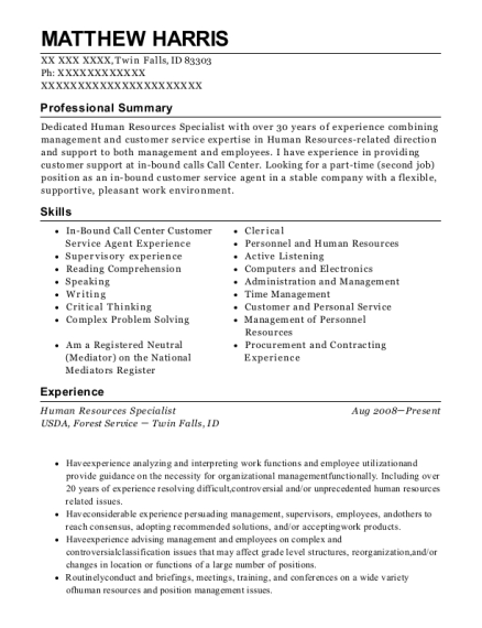 Human Resources Specialist resume template Idaho