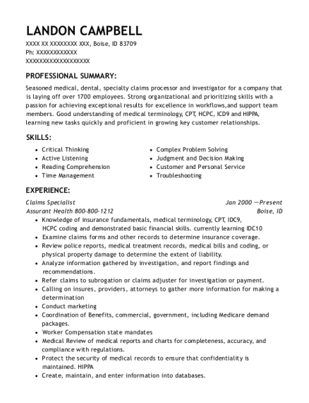 Claims Specialist resume template Idaho