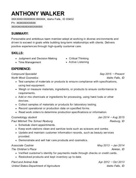 Compound Specialist resume template Idaho