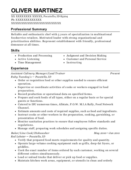 Assistant Culinary Manager resume example Idaho
