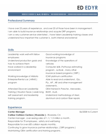 Center Manager resume template Idaho