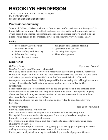 Delivery Driver resume example Idaho