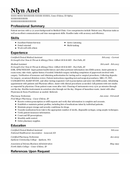 Certified Clinical Medical Assistant resume sample Idaho
