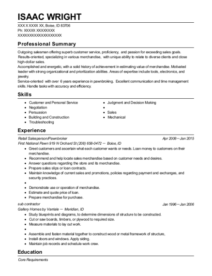 Retail Salesperson resume example Idaho