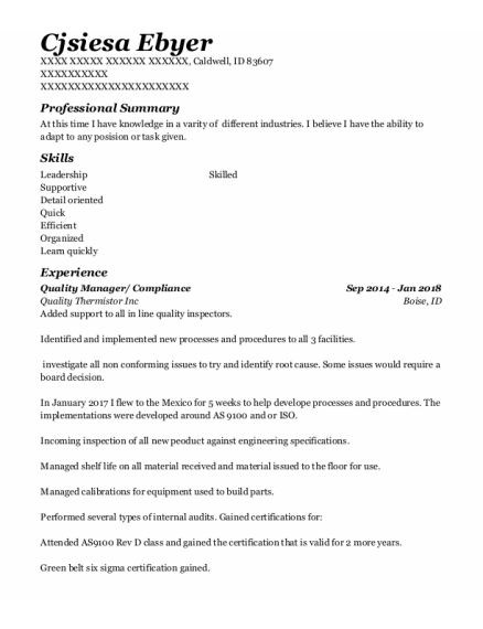 Quality Manager resume template Idaho