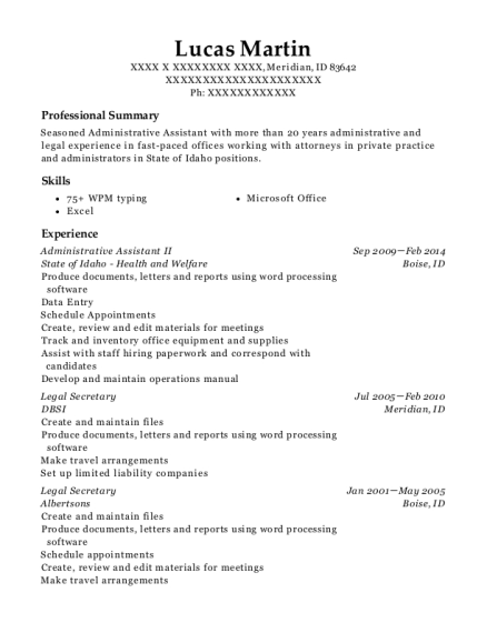 Administrative Assistant II resume format Idaho