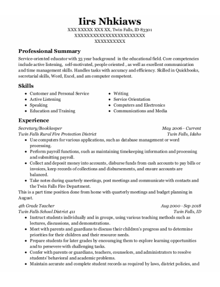 Secretary resume format Idaho