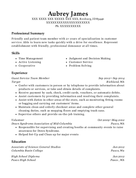 Guest Service Team Member resume format Idaho