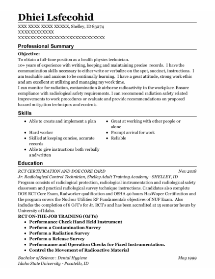 Dental Hygienist resume format Idaho