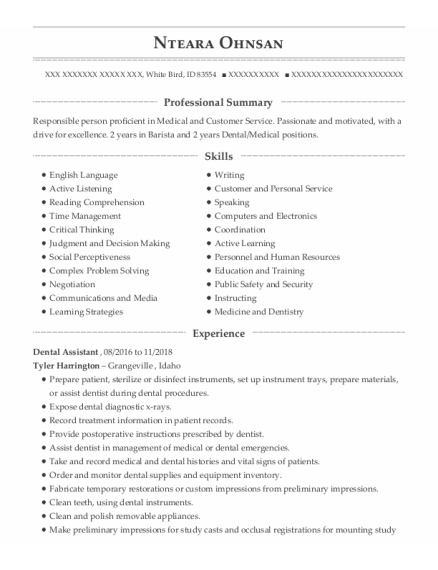 Dental Assistant resume template Idaho
