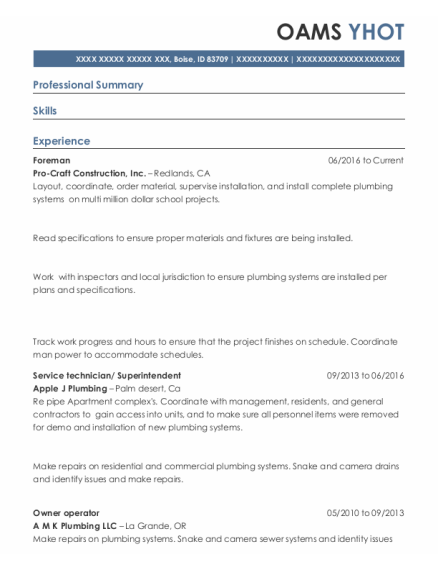 Foreman resume example Idaho