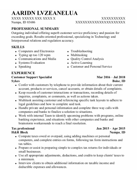 Customer Support Specialist resume sample Idaho