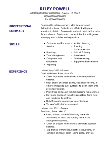 Laborer resume sample Idaho