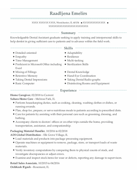 Home Caregiver resume example Illinois