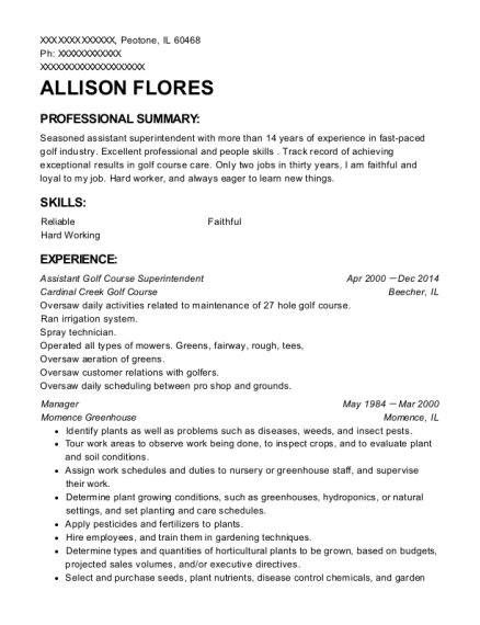 Assistant Golf Course Superintendent resume format Illinois
