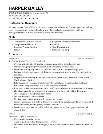 Senior Teller resume sample Illinois