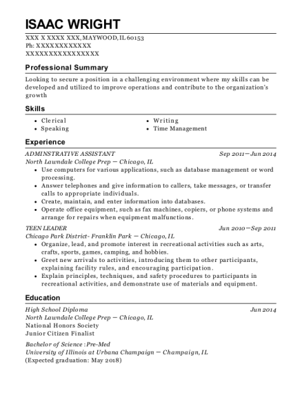 ADMINSTRATIVE ASSISTANT resume template Illinois