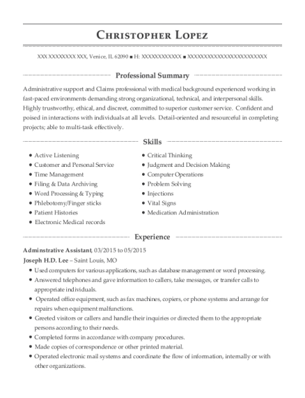 Adminstrative Assistant resume format Illinois