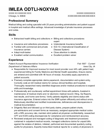 Patient Account Representative resume format Illinois