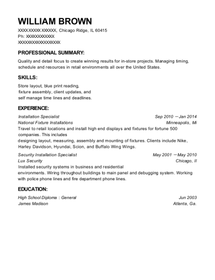 Installation Specialist resume example Illinois