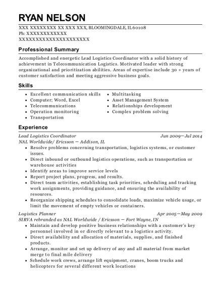 Lead Logistics Coordinator resume sample Illinois