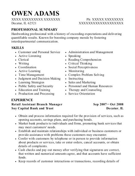 Retail Assistant Branch Manager resume sample Illinois