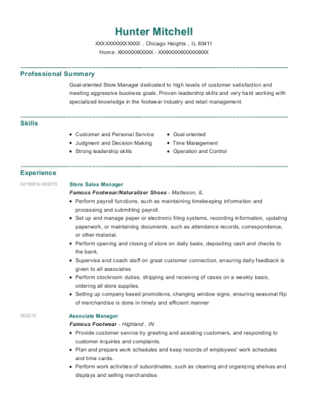 Store Sales Manager resume template Illinois