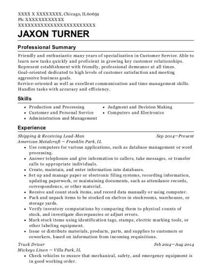 Shipping & Receiving Lead Man resume format Illinois