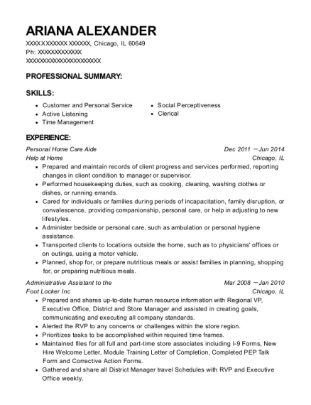 Personal Home Care Aide resume format Illinois