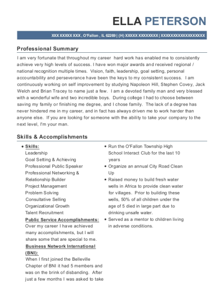 Chief Operating Officer resume sample Illinois