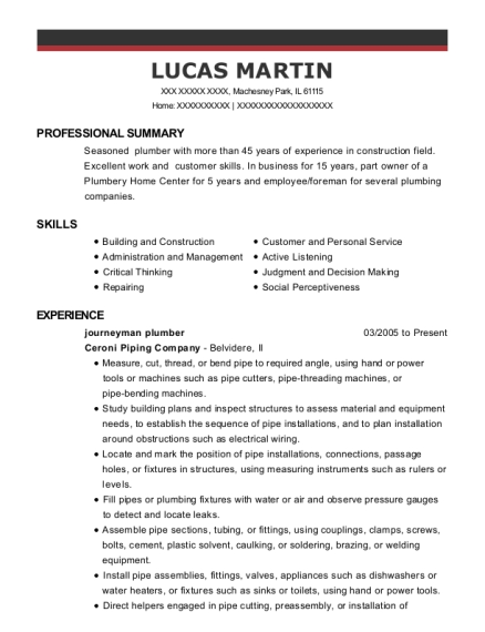 Journeyman Plumber resume sample Illinois