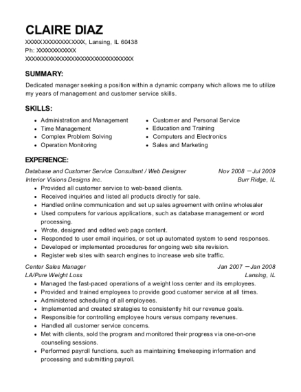Database and Customer Service Consultant resume template Illinois