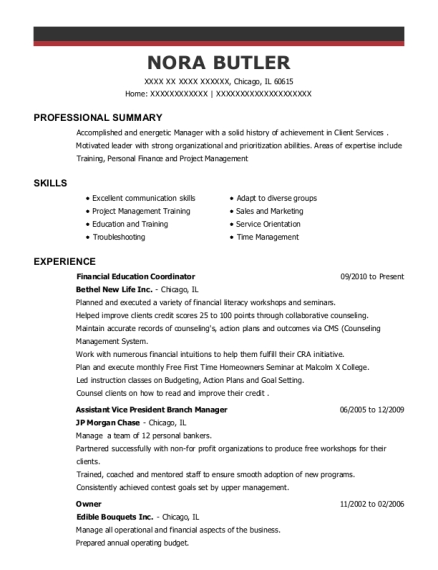 Financial Education Coordinator resume format Illinois