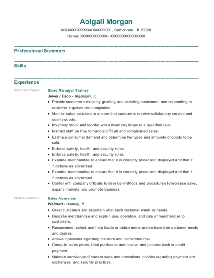Store Manager Trainee resume example Illinois