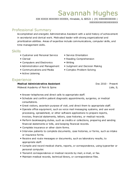 Medical Administrative Assistant resume example Illinois
