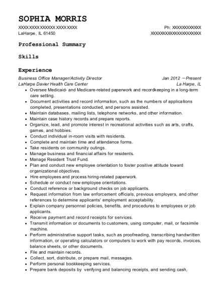 Business Office Manager resume example Illinois