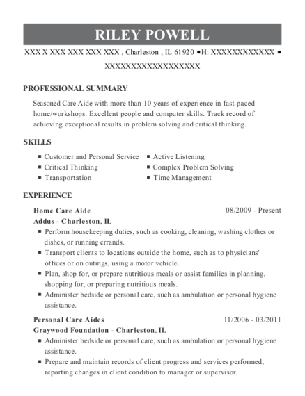 Home Care Aide resume format Illinois