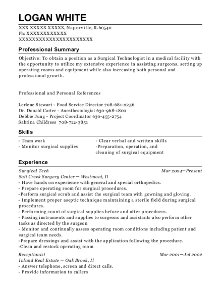 Surgical Tech resume template Illinois