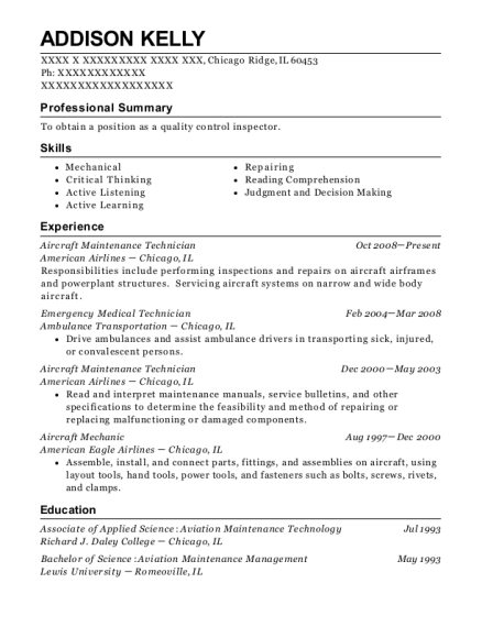 Aircraft Maintenance Technician resume format Illinois