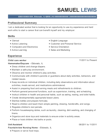 Child care worker resume sample Illinois