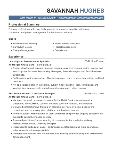 Learning and Development Specialist resume format Illinois