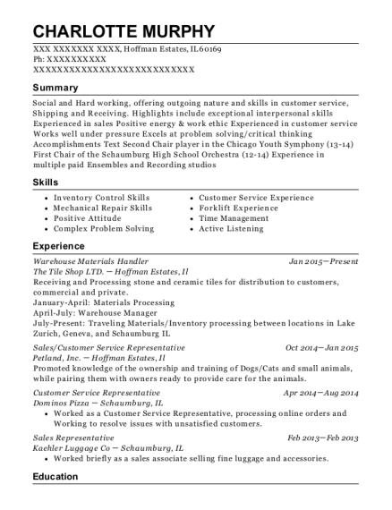 Warehouse Materials Handler resume format Illinois