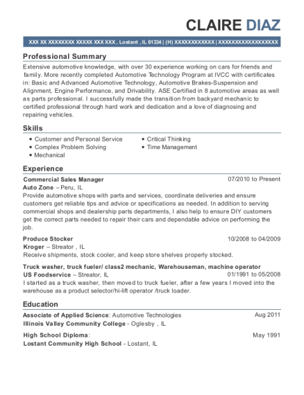 Commercial Sales Manager resume sample Illinois