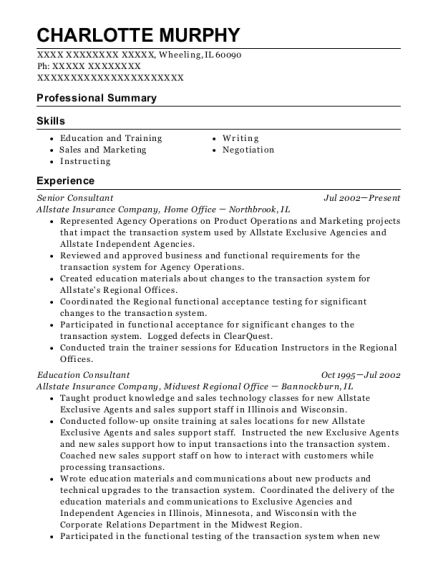 Senior Consultant resume sample Illinois